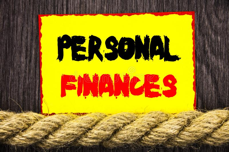 Handwritten text sign showing Personal Finances. Conceptual photo Finance Financial Investment Plan For Success Wealth written on royalty free stock image