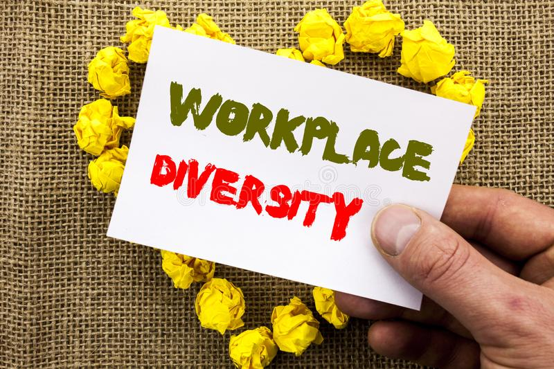 Handwritten text sign showing Workplace Diversity. Conceptual photo Corporate Culture Global Concept For Disability written on Sti. Handwritten text sign showing royalty free stock photography