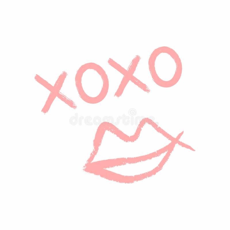 Handwritten text Xoxo and outlines of female lips drawn by hand with rough brush. Grunge, sketch, watercolor. Cute vector illustration royalty free illustration
