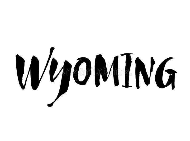 Handwritten U.S. state name Wyoming. Brush lettering. Modern ink calligraphy. Calligraphic element for your design. Vector royalty free illustration