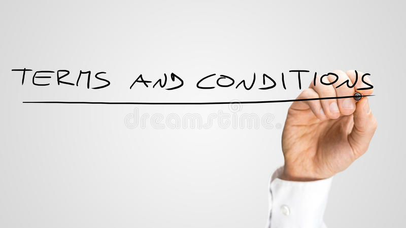 Handwritten Underlined Terms and Conditions Texts. In All Uppercase, Isolated on Gray Background royalty free stock images