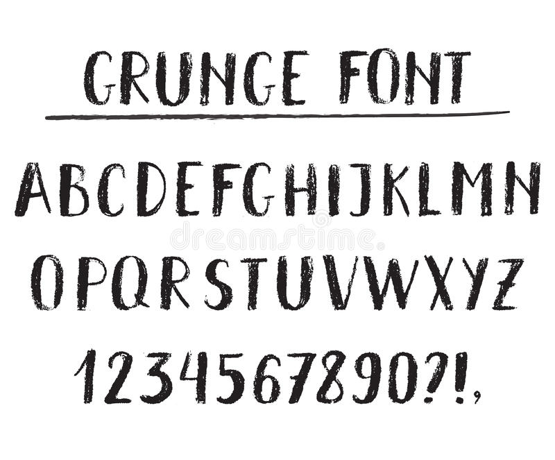 Handwritten vector alphabet. Grunge texture vector illustration