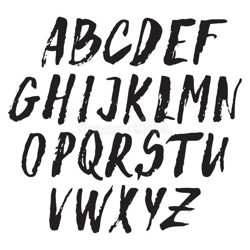 Handwritten vector alphabet. Grunge texture. royalty free illustration