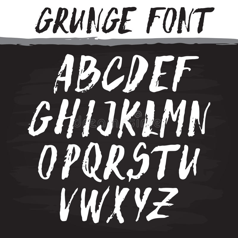 Handwritten vector alphabet. Grunge texture. vector illustration