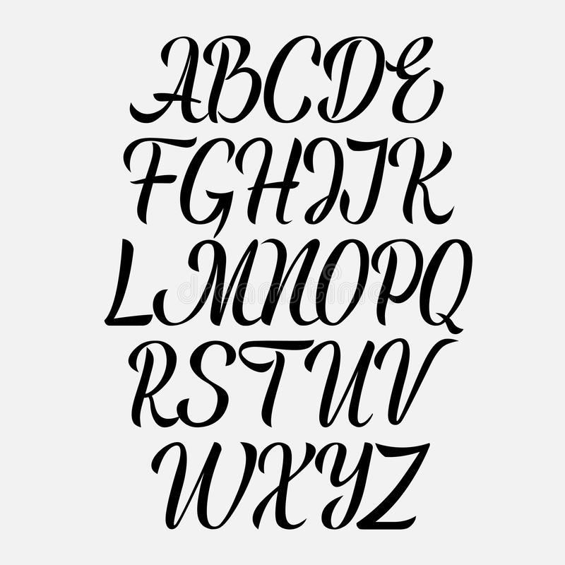 Handwritten vector aphabet. Hand drawn lettering font. Brush script calligraphy cursive type. Handwritten vector aphabet. Hand drawn lettering font. Brush royalty free illustration