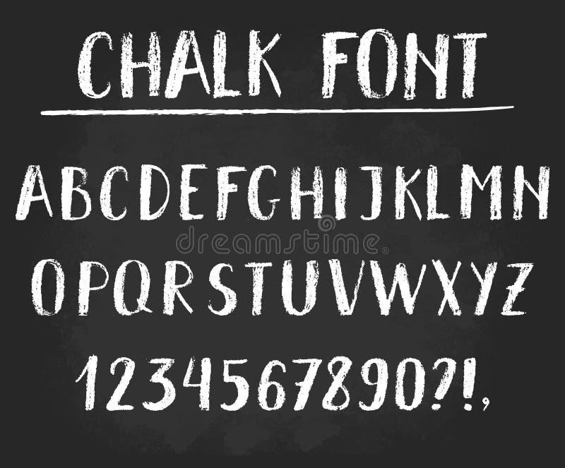 Handwritten vector chalked alphabet. royalty free illustration