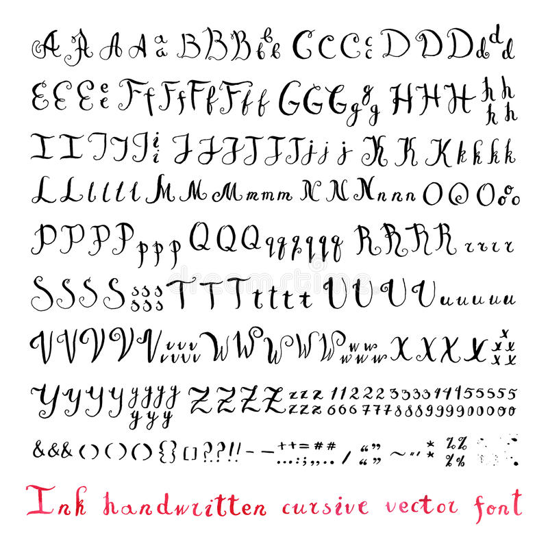 Download Handwritten Vintage Ink Cursive Vector Alphabet Font With Different Variants Of Writing The