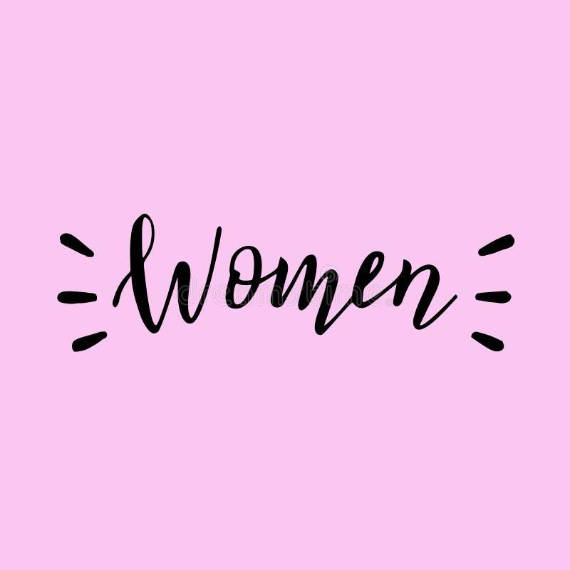 Handwritten women word. Modern lettering feminist banner. royalty free illustration