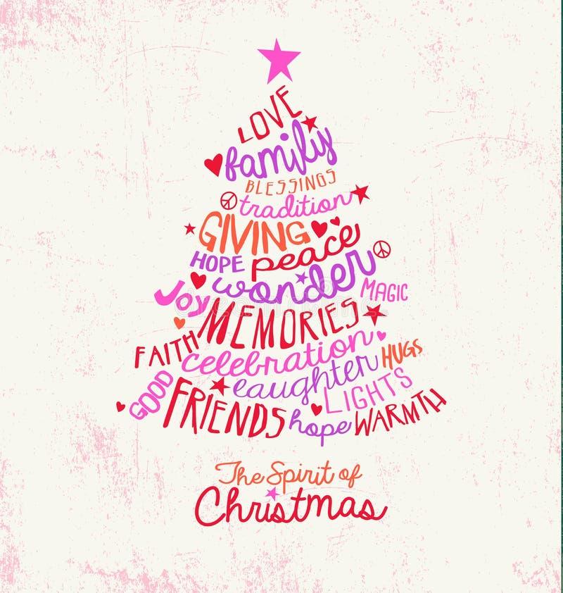 Handwritten word cloud Christmas tree greeting card design. Handwritten inspiring Christmas tree greeting card design stock illustration