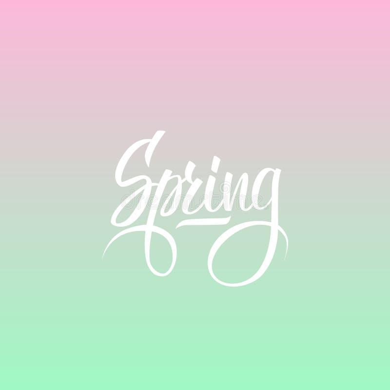 Handwritten word Spring. Hand drawn lettering on blurred background. vector illustration