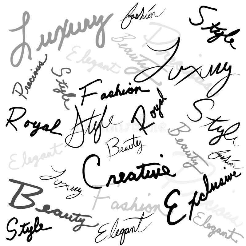 Handwritten Words Stock Image