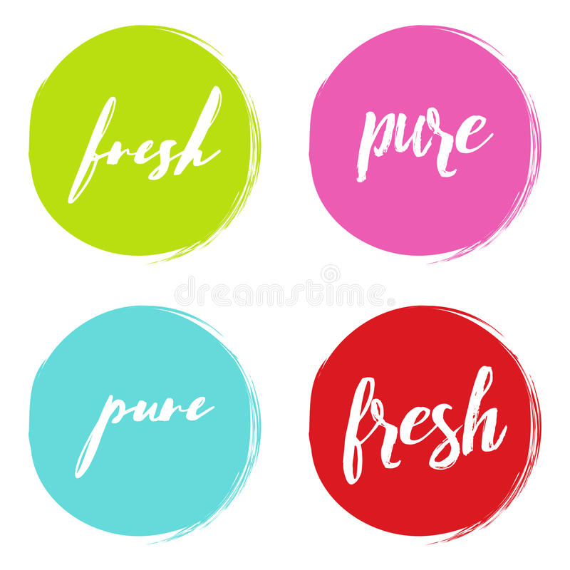 Handwritten words Fresh, Pure, with color circle brush stroke backgrounds. Vector illustration vector illustration
