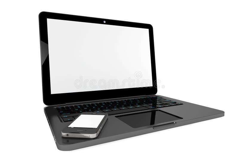 Handy über Laptop-Computer stockfoto