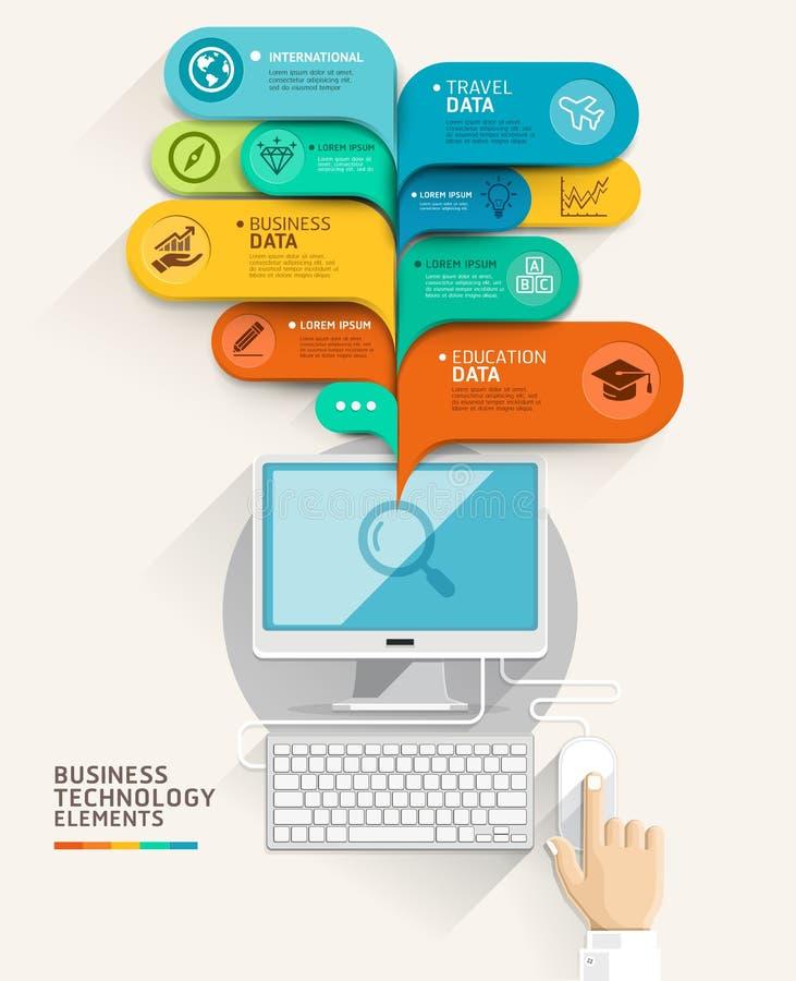 Handy über Tastatur eines weißen Luxuxlaptops Computer- und Blasenspracheschablone vektor abbildung