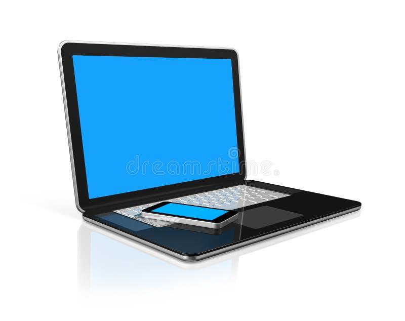 Handy auf einem Laptop lizenzfreie abbildung
