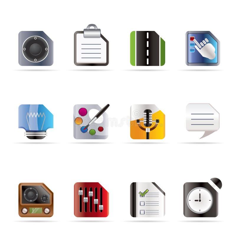 Handy-, Computer-und Internet-Ikonen stock abbildung