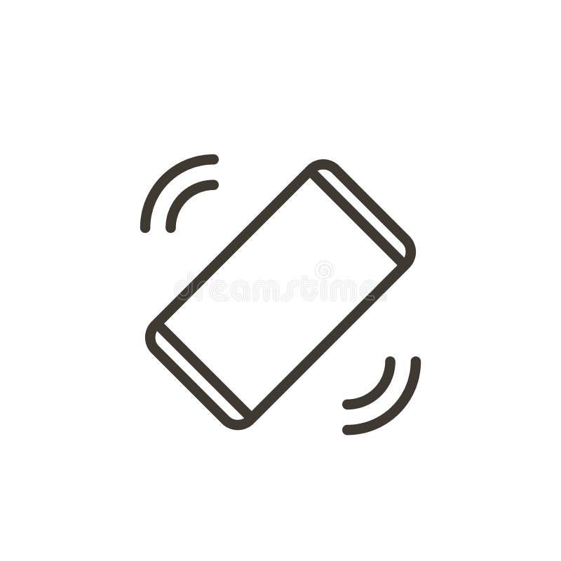 Handy, der einen Anruf oder eine Mitteilung empfangend schellt oder vibriert Dünne Linie Ikone des Vektors eines Smartphone, lizenzfreie abbildung