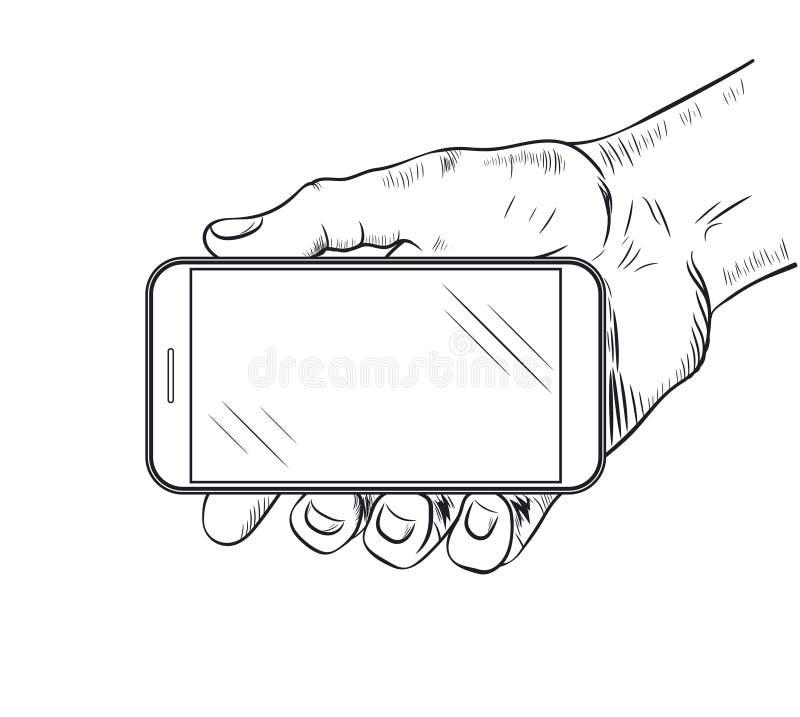 Handy in der Hand lizenzfreie abbildung