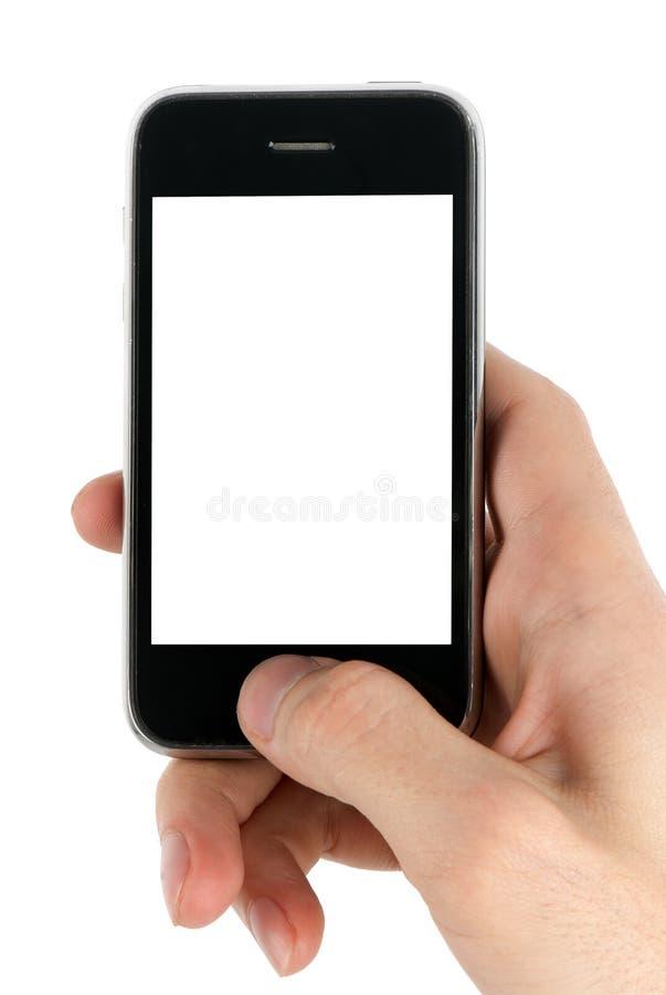 Handy in der Mannhand stockfotos