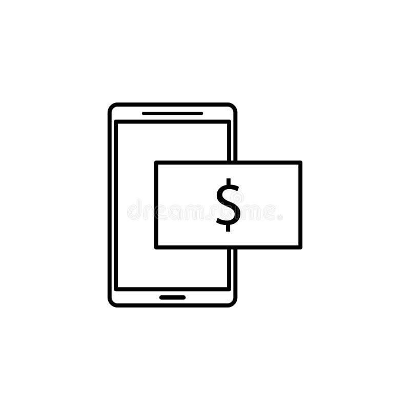 Handy, Dollarikone Element der Finanzillustration Zeichen und Symbolikone können für Netz, Logo, mobiler App, UI, UX benutzt werd lizenzfreie abbildung
