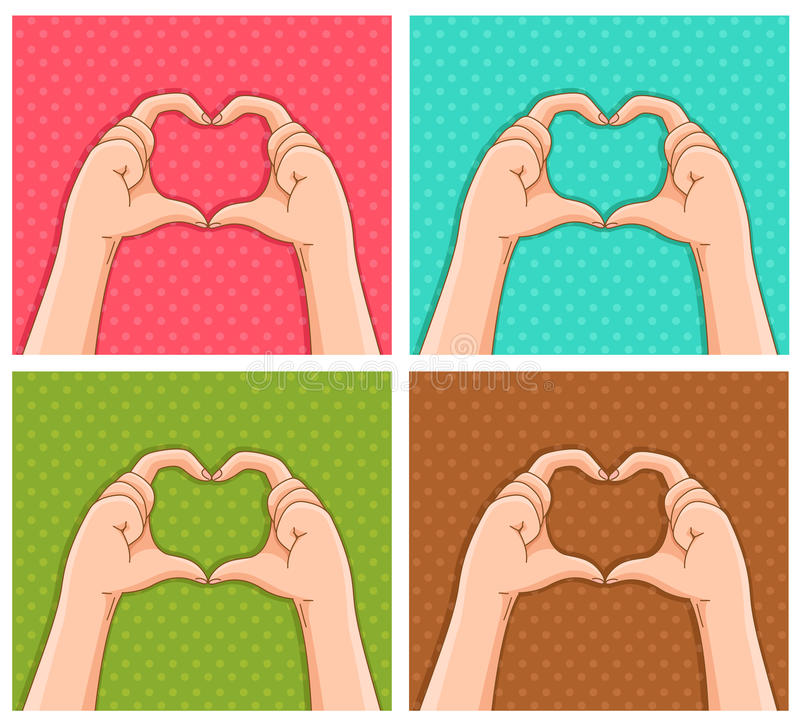 Handy hearts. Hands creating hearts shapes on different colored backgrounds vector illustration