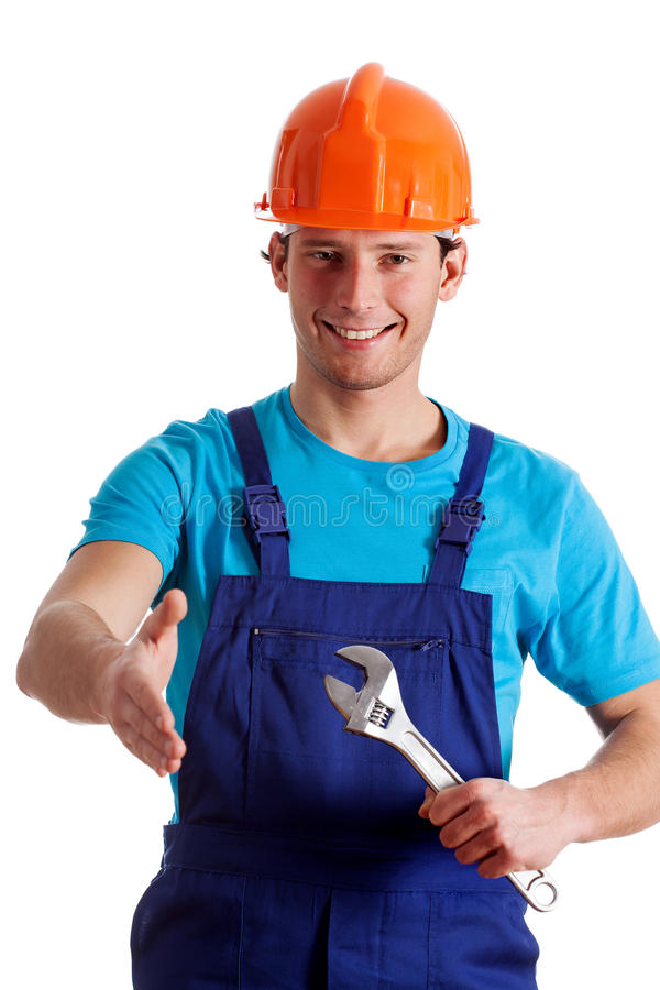 Handy man welcoming. Smiled handy man giving a hand to wlecome royalty free stock photography