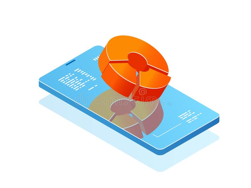 Handy mit Balkendiagramm auf Schirm, Analytikanwendung, Fahne mit isometrischem Vektor der Smartphoneon-line-Statistik lizenzfreie abbildung