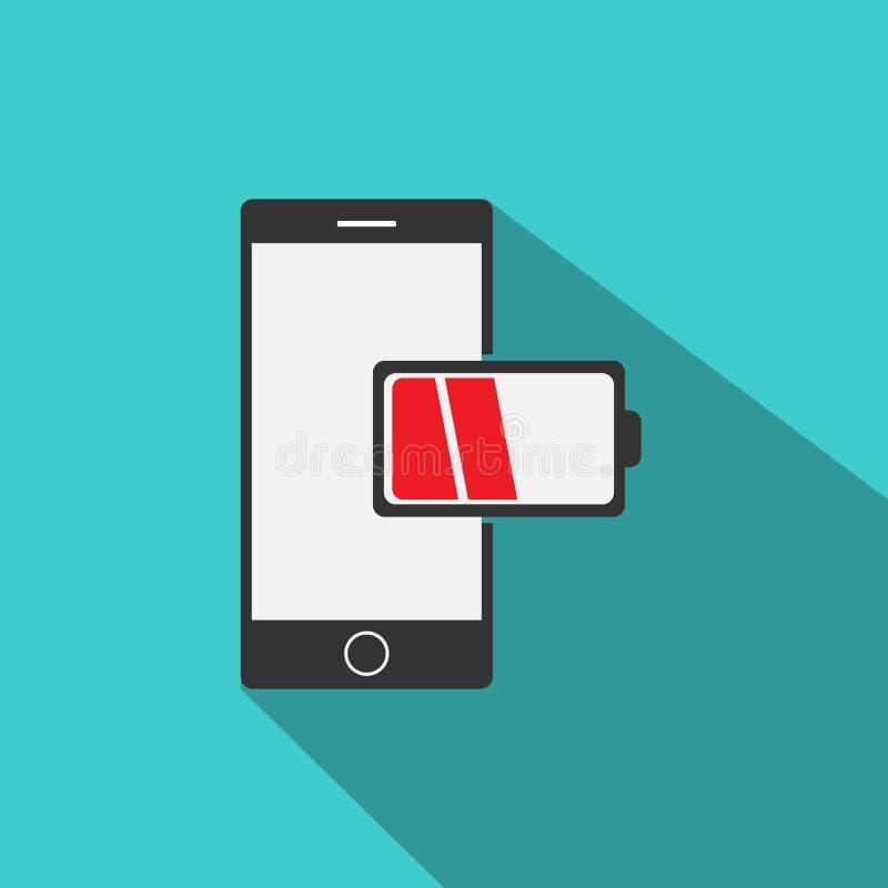 Handy mit Berichts-Ikonenvektor der schwachen Batterie in der modernen flachen Art lizenzfreie abbildung