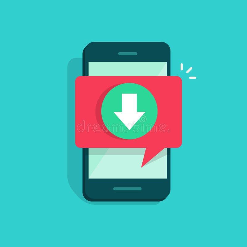Handy mit Downloading- und Blasensprachemitteilungsvektorillustration, flaches Karikatur Smartphonedownload stock abbildung