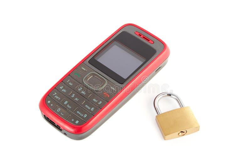 Handy mit einer Verriegelung lizenzfreie stockbilder