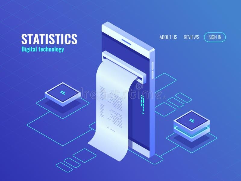 Handy mit Gehaltsabrechnungsisometrischer Ikone, Daten bezüglich des Schirmes von Smartphone, Konzept des datenverarbeitenden Vek stock abbildung