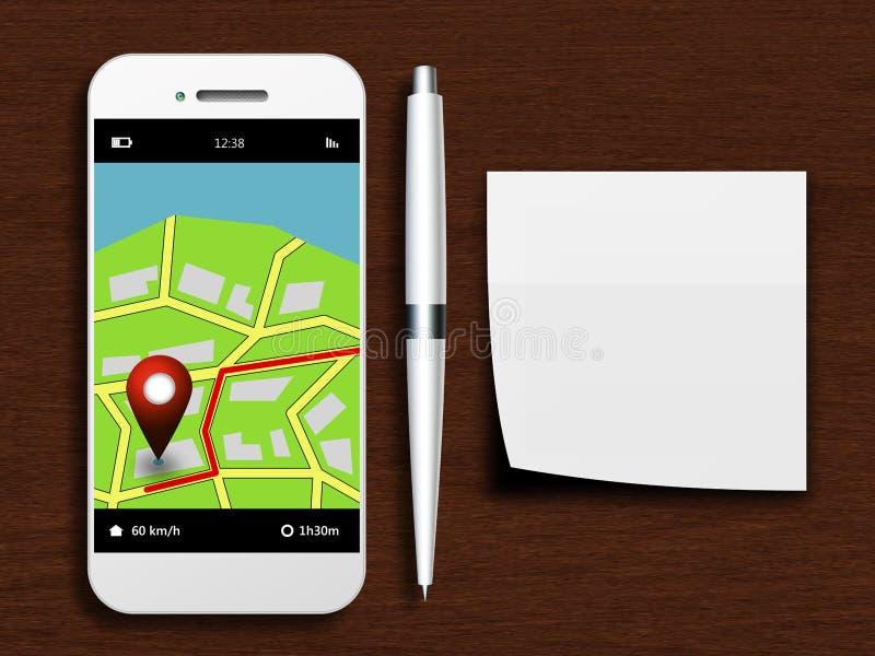 Handy mit gps-Anwendung, Stift und sauberer Anmerkung, die auf d liegen lizenzfreie abbildung