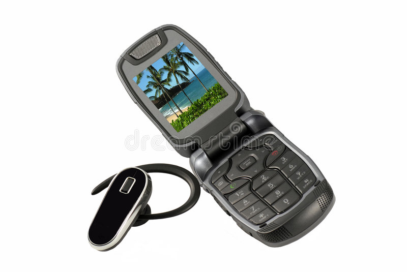Handy und Bluetooth Kopfhörer lizenzfreies stockfoto