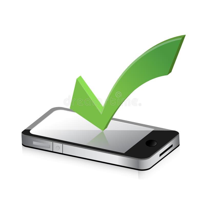 Handy und Ikone mit Symbol des Zeckenkennzeichens stock abbildung