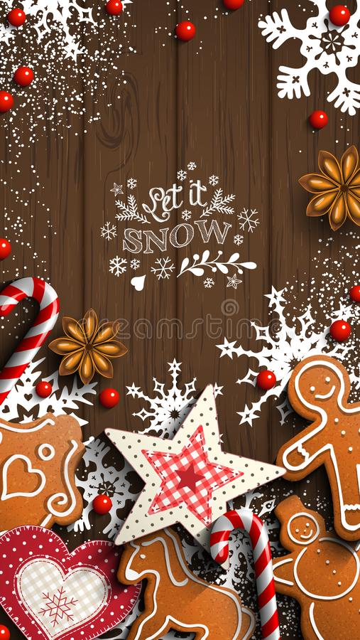 Handy-Weihnachtstapete, -lebkuchen und -verzierungen auf Holz vektor abbildung