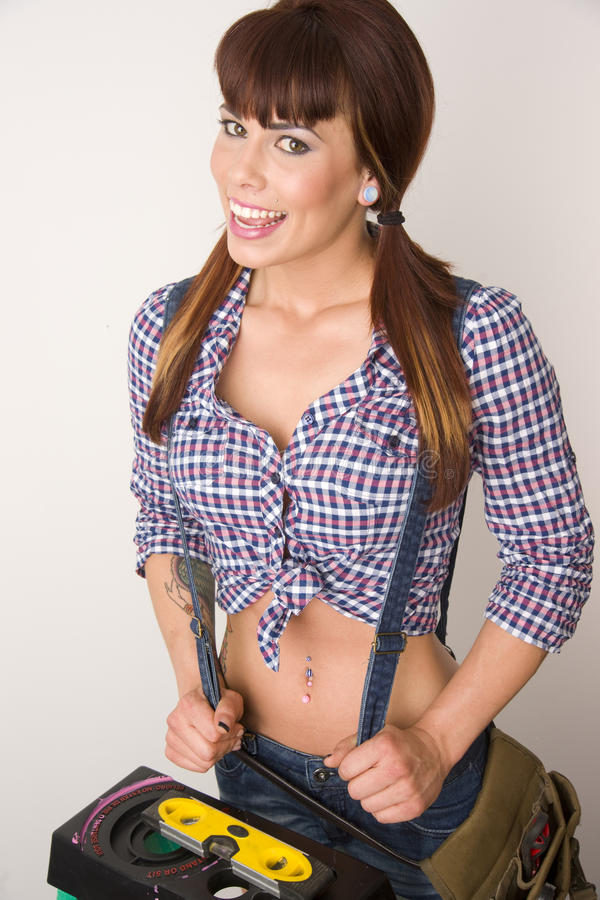 Download Handy Woman On Ladder Wearing Suspenders Stock Image - Image: 20962871