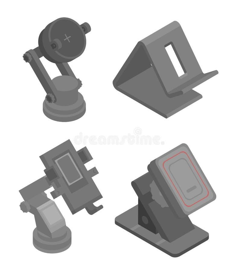 Handyhalter-Ikonensatz, isometrische Art vektor abbildung