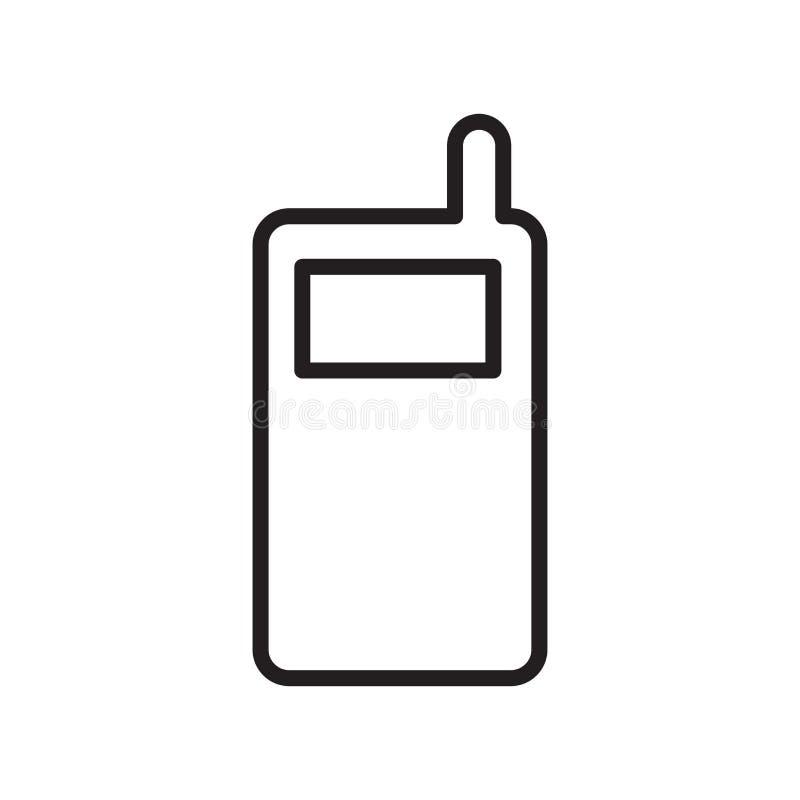 Handyikonenvektorzeichen und -symbol lokalisiert auf weißem Hintergrund, Handylogokonzept, Entwurfssymbol, lineares Zeichen vektor abbildung