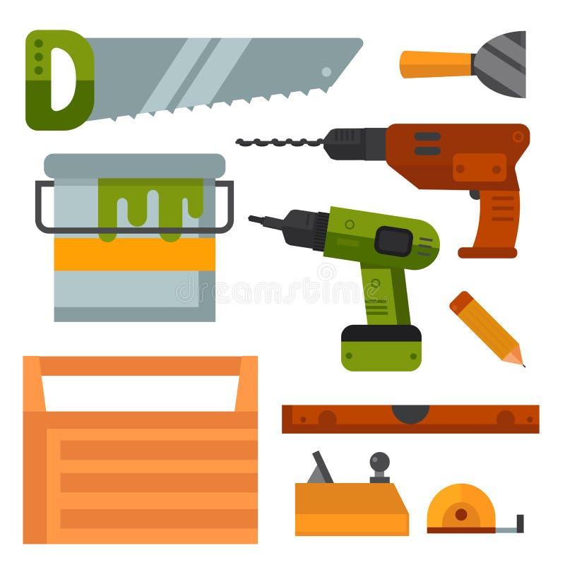 Handyman διανυσματική απεικόνιση ανακαίνισης σπιτιών εξοπλισμού εργαζομένων εργαλείων κατασκευής απεικόνιση αποθεμάτων
