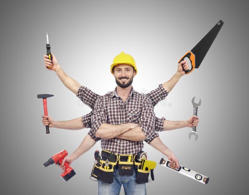 Handyman με τα εργαλεία στοκ φωτογραφία με δικαίωμα ελεύθερης χρήσης