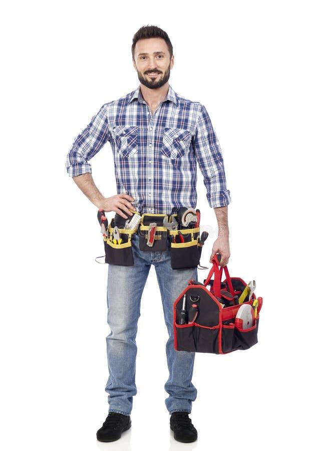 Handyman με την εργαλειοθήκη στοκ εικόνες