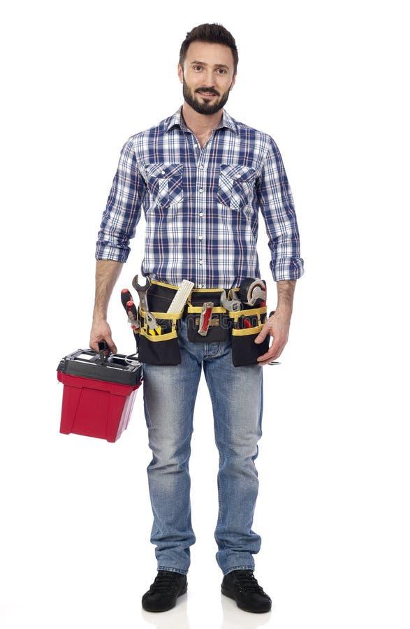 Handyman με την εργαλειοθήκη στοκ φωτογραφίες με δικαίωμα ελεύθερης χρήσης