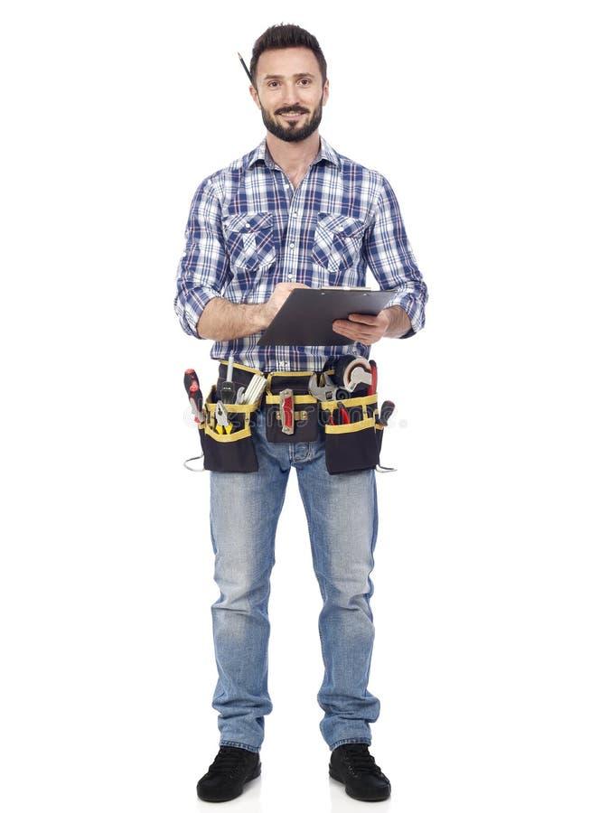 Handyman με την περιοχή αποκομμάτων στοκ εικόνα με δικαίωμα ελεύθερης χρήσης