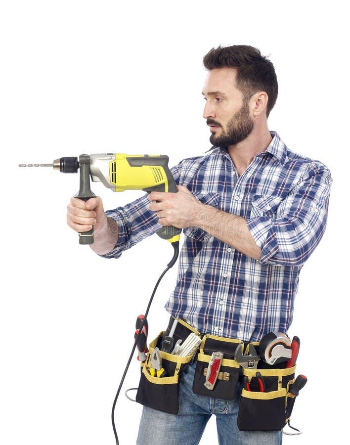 Handyman με το τρυπάνι στοκ εικόνες