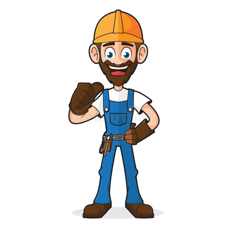 Handyman που δίνει τον αντίχειρα επάνω απεικόνιση αποθεμάτων