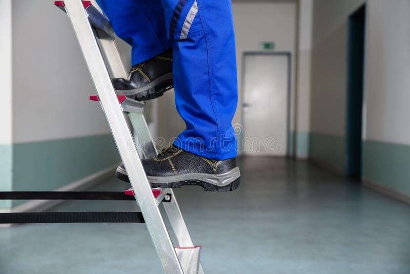 Handyman που αναρριχείται στη σκάλα στοκ εικόνες