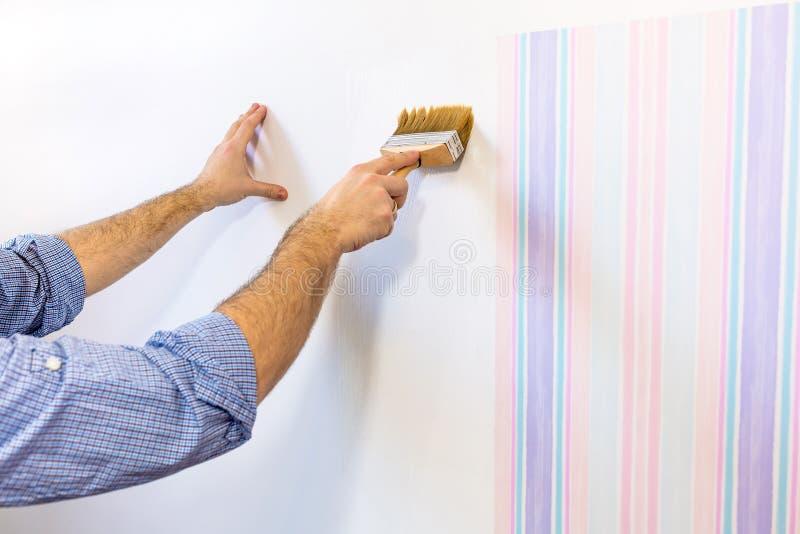 Handyman που βάζει την κόλλα για μια ταπετσαρία στοκ φωτογραφία