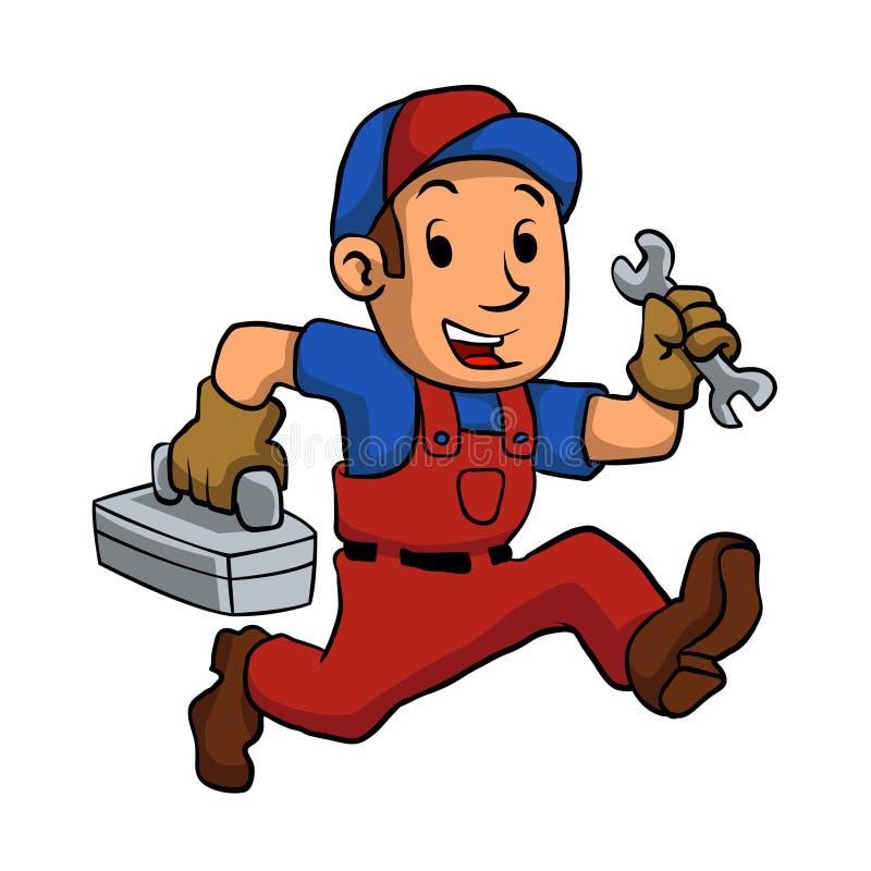 Handyman που τρέχει με μια εργαλειοθήκη ελεύθερη απεικόνιση δικαιώματος