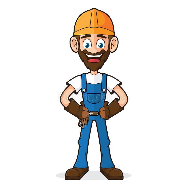 Handyman που χαμογελά και που θέτει διανυσματική απεικόνιση