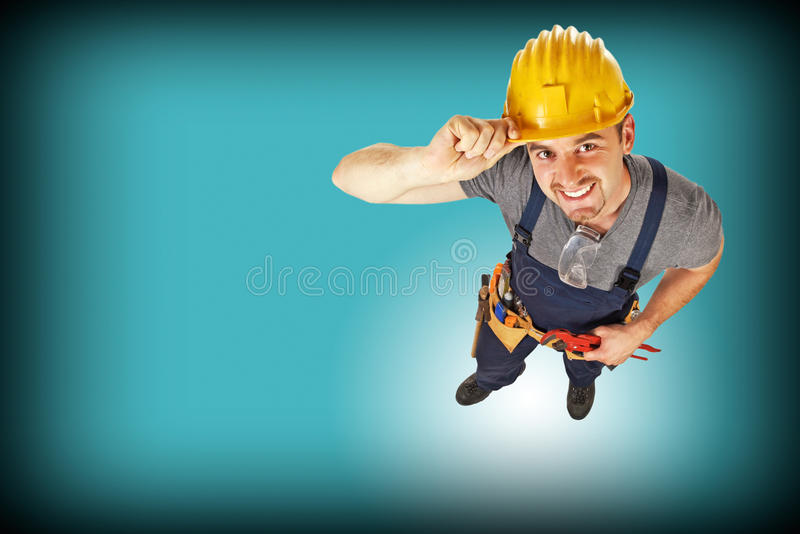 Handyman blue background royalty free stock image